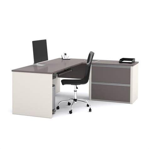 bestar connexion l shaped desk with 1 oversized pedestal in sandstone slate 93862 59