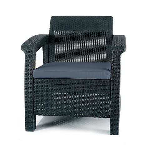 keter corfu charcoal all weather patio armchair with