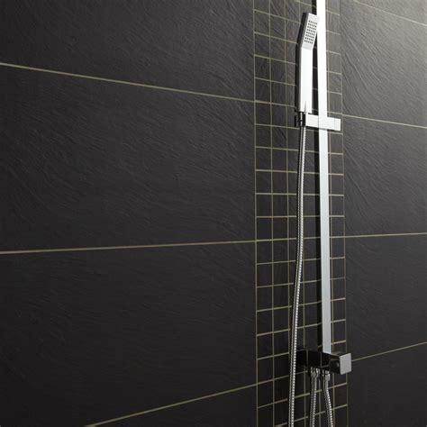 carrelage sol et mur noir vesuvio l 30 x l 60 cm leroy merlin