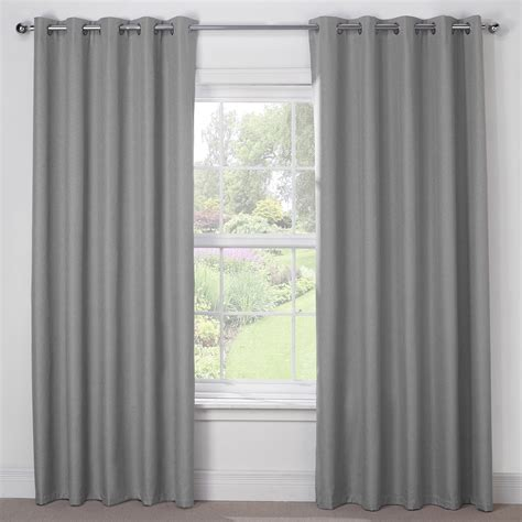 silver grey luxury thermal blackout eyelet curtains pair julian charles