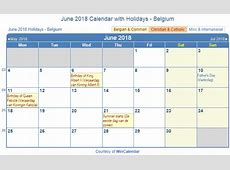 Print Friendly June 2018 Belgium Calendar for printing