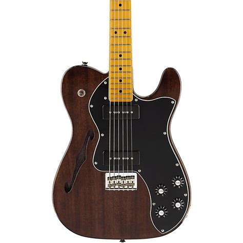 fender modern player telecaster thinline deluxe electric guitar transparent black maple