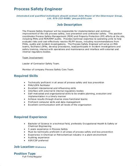 10+ Process Engineer Job Description Samples  Sample Templates