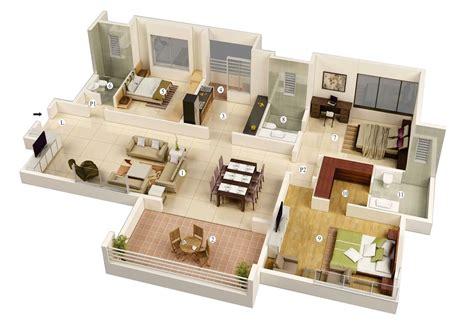 8 Room House Design : 3 Bedroom House Plans 3d Design 8