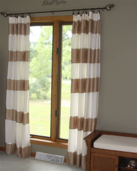 make striped curtains from a bedsheet and an bedskirt