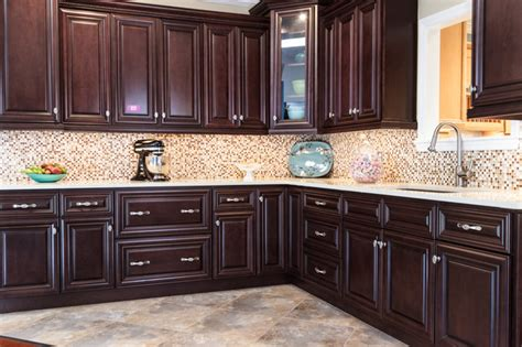 palm chocolate kitchen cabinets traditional