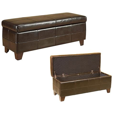 Shop Chocolate Leather Storage Bench  Free Shipping Today