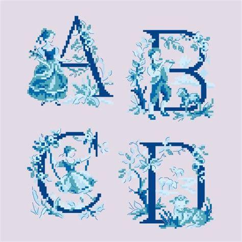 le grand abc 171 toile de jouy 187 bleu 224 broder au point de croix punto en toile