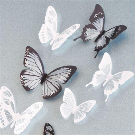 stickers 17 papillons noir et blanc 3d stickers muraux