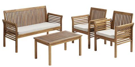carrefour salon de jardin hano 207 1 table basse 1 sofa 2 fauteuils bois marron 4