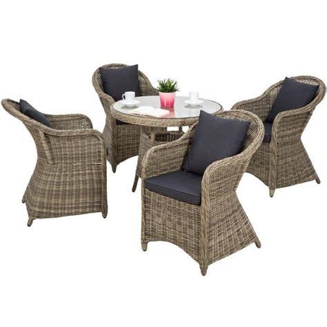 salon de jardin agathe 4 chaises fauteuils 1 table ronde r 233 sine tress 233 e poly rotin structure