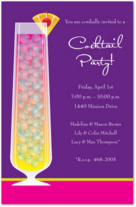 Sunset Cocktail Party Purple Shower Party Invitations