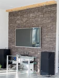 Tv An Wand Anbringen : tv wand mit steinverblender ohne sichtbare kabel bauen ~ Markanthonyermac.com Haus und Dekorationen