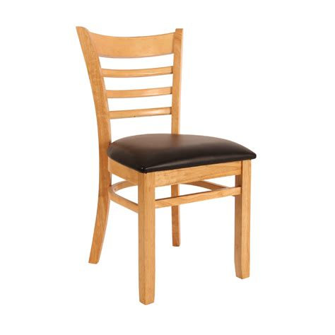 ladder back chair with cushion in oak