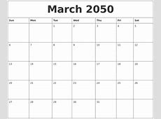 March 2050 Blank Printable Calendars