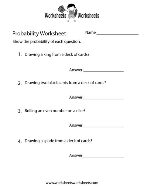 Probability Worksheets For First Grade Probability Best Free Printable Worksheets