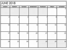 June 2018 Calendar Printable With Notes