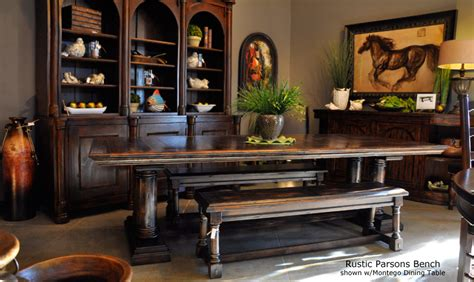 Old World Tuscan Style Dining Room Benches