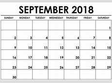 September Month Calendar For 2018 – Free Printable 2018