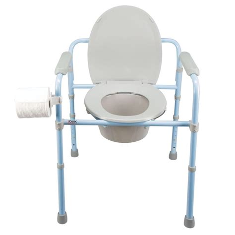 deluxe folding commode carex health brands b34100 portable toilets cing world