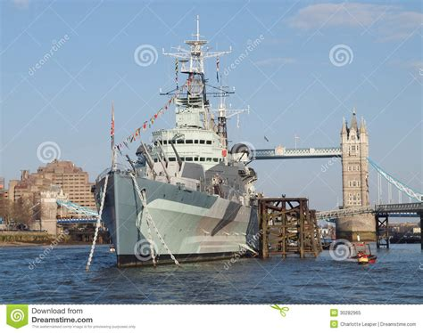 Boat Prices From Belfast To England by Hms Belfast And Tower Bridge London Royalty Free Stock