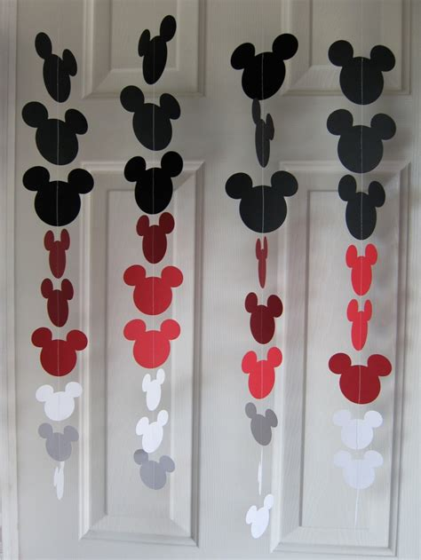 black and white mouse style garland strand birthday decorations mickey mouse