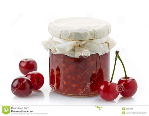 pot de confiture de fruit avec des cerises photo stock image 43259305