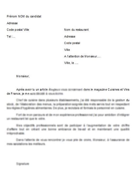 mod 232 le de lettre lettre de motivation chef de cuisine