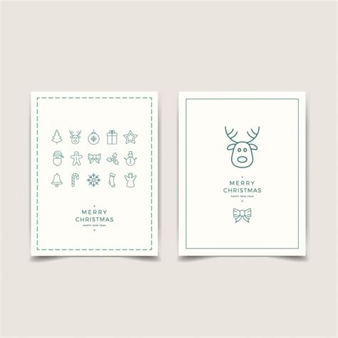 Minimalist Cards With Christmas Decoration Vector Free