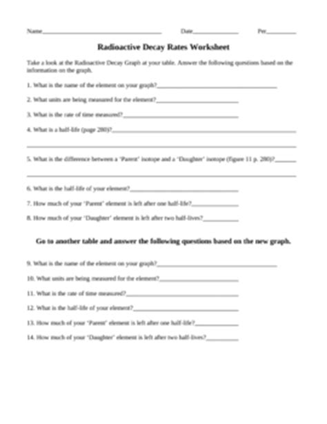 Radioactive Decay Rates Worksheet By Ian Keith Tpt