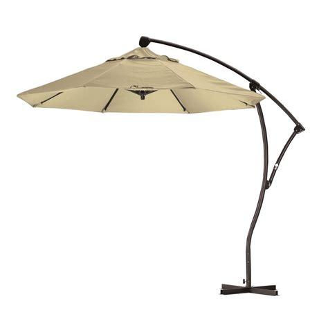 california umbrella 9 ft cantilever aluminum deluxe crank lift patio umbrella in antique beige