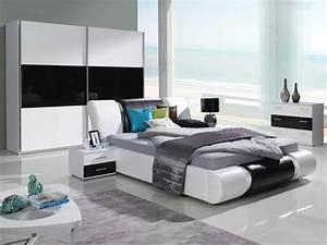 Möbel Schlafzimmer Komplett : komplett schlafzimmer kansas hochglanz schwarz weiss ~ Markanthonyermac.com Haus und Dekorationen