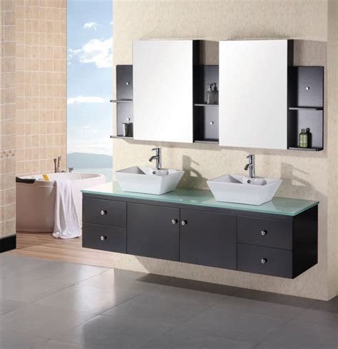 72 inch modern vessel sink bathroom vanity with tempered glass counter top uvde071b72