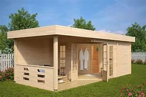Sauna Im Garten : gartensauna modern paula 12 5m 44mm 8x3 hansagarten24 ~ Markanthonyermac.com Haus und Dekorationen