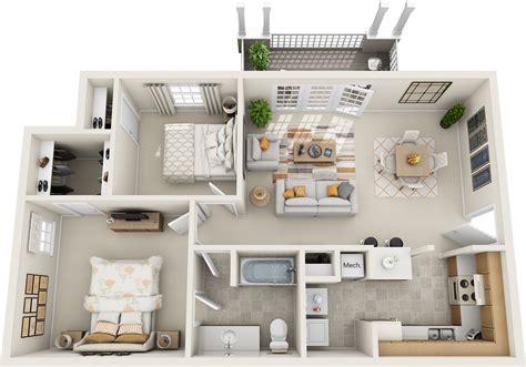 3d floor plan image 2 for the 1 bedroom studio floor plan floor plans northfield commons apartments murfreesboro