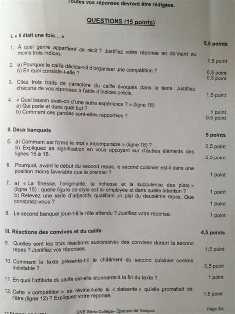 brevet des coll 232 ges 2012 sujet et corrig 233 de l 233 preuve de fran 231 ais