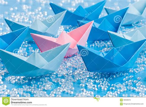 Origami Love Boat by Love Boat Fleet Of Blue Origami Paper Ships On Blue Water