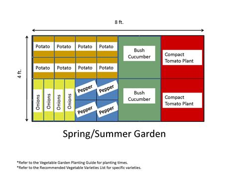 or summer vegetable garden layout plans and spacing 4x8 ft ideas