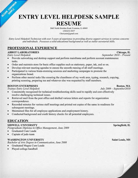 helpdesk support analyst resume sle