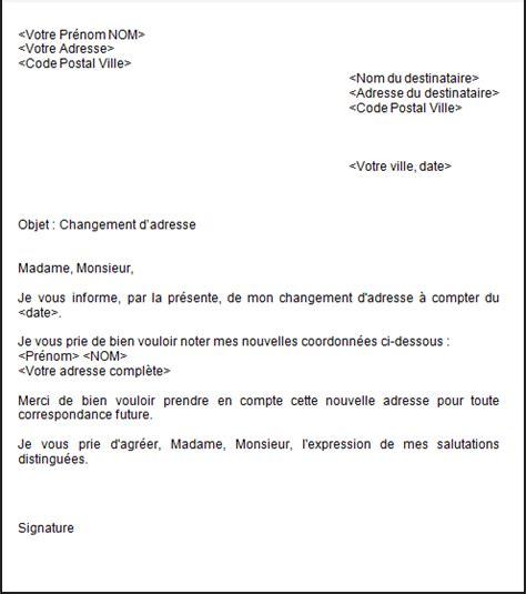 lettre changement d adresse d 233 m 233 nagement offic 233 o