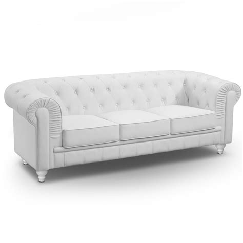 canap 233 3 places chesterfield blanc
