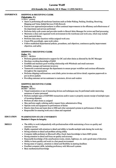 Shipping & Receiving Clerk Resume Samples  Velvet Jobs