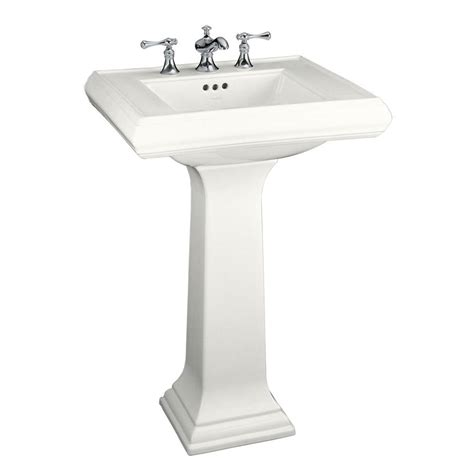 kohler memoirs classic ceramic pedestal combo bathroom sink in white with overflow drain k 2238