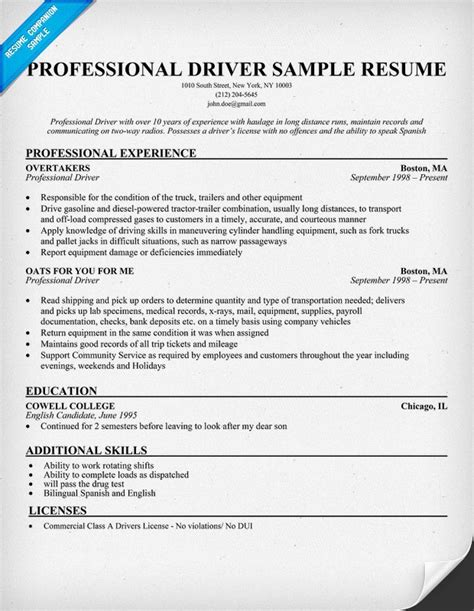 Professional #driver Sample Resume (resumecompanionm. Preschool Classroom Schedule Template. Writing An Engineering Cover Letter. Three Paragraph Essay Graphic Organizer Template. Sample Monthly Household Budget Template. Residential Lease Agreements California Template. Organ Donation Persuasive Speech Template. Diploma Template Word. Sample Of Informal Letter Cbse Format