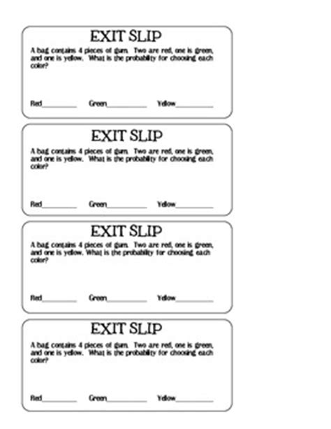 Probability Exit Slip By Ashlee Roulette  Teachers Pay Teachers