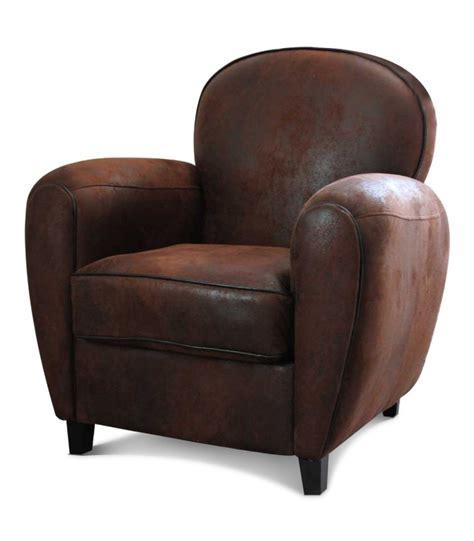 fauteuil club aspect cuir vieilli marron wadiga