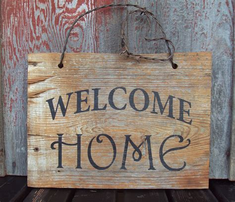 Barn Wood Welcome Home Sign Hand Painted Rustic Wall Decor