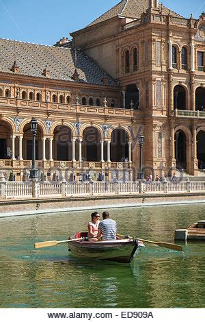 Boat In Spanish Rowing by Seville Spain Rowing Boat At The Plaza De Espana Stock