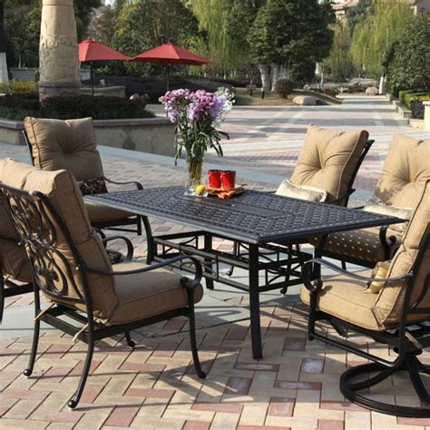 darlee santa 6 person cast aluminum patio dining set
