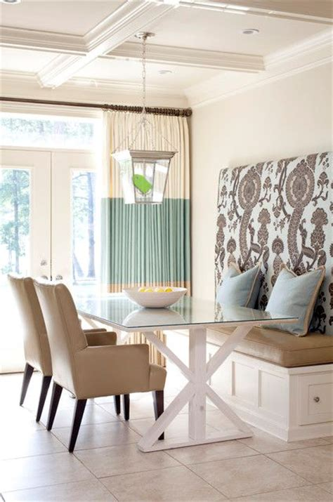 built in banquette seating dining room in living color